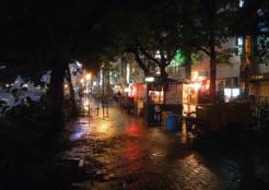 雨の那珂川沿い